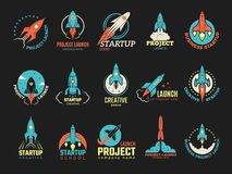 Startup logo. Business launch perfect idea spaceship rocket shuttle startup symbols vector colored badges royalty free illustration