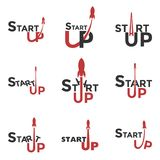 Startup logo. Logo set for commencement of business. The red rocket takes off. Beginning of work ideas. Vector illustration stock illustration