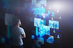 Startup man looking at virtual screens royalty free stock photo