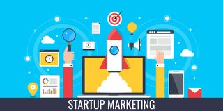 Startup marketing - rocket coming out from laptop. Flat design marketing banner. Concept of startup marketing, flying rocket on a laptop screen and other web vector illustration