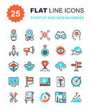Startup and New Business. Abstract vector collection of flat line startup and new business icons. Elements for mobile and web applications Stock Images