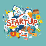 Startup new business project with rocket image flat design Royalty Free Stock Photo