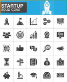 Startup and new business vector icons set. Modern solid symbol collection, filled style pictogram pack. Signs, logo illustration. Set includes icons as rocket Stock Images