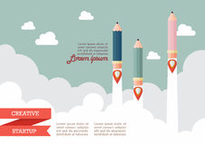 Startup with pencil rockets. Creative startup concept Stock Photos