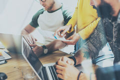 Startup People Brainstorming Process.Coworkers Making Great Decisions.Young Bearded Hipsters Business Team Discussion Royalty Free Stock Photo