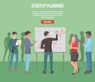Startup Planning Internet Info Page Illustration. Startup planning information page vector illustration. Team develop project, make notes and draw statistic Stock Images