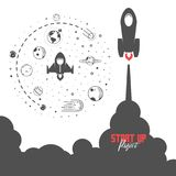 Startup project concept. Flat design missile and planets in space, to develop your business. Vector illustration Stock Photography