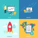 Startup project plan report digital marketing flat banner slider Royalty Free Stock Photos