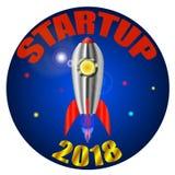 Startup, a rocket blasting off. Vector Illustration Stock Photography