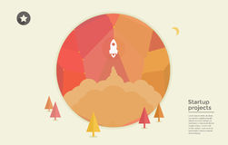 Startup rocket in circle stock illustration