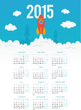 Startup rocket in flat style 2015 calendar. Startup rocket in flat style vector 2015 calendar template Royalty Free Stock Photos