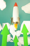 Startup rocket green arrows. Start up concept with rocket going up in abstract sky with green arrows. 3D Rendering Royalty Free Stock Photography
