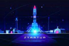 Startup rocket, launch of business marketing idea vector illustration