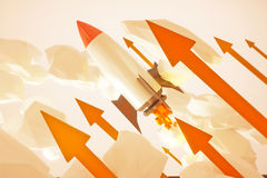 Startup rocket red arrows Royalty Free Stock Photography