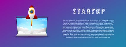 Startup. The rocket takes off from the laptop. Vector illustration. Flat. Slope. Stock Image