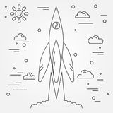 Startup. Rocket thin line icon. Human Space Flight. Vector illus. Tration Stock Images