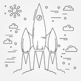 Startup. Rocket thin line icon. Human Space Flight. Vector illus. Tration Stock Photography