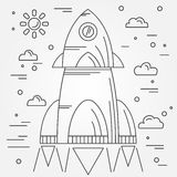 Startup. Rocket thin line icon. Human Space Flight. Vector illus Royalty Free Stock Photography