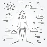 Startup. Rocket thin line icon. Stock Photography
