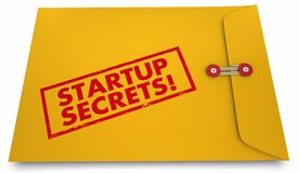Startup Secrets Yellow Envelope Information Advice. 3d Illustration stock illustration