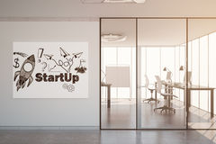 Startup sketch on whiteboard. Modern office interior with spaceship sketch on whiteboard and sunlight. Entrepreneurship concept. Toned image. 3D Rendering royalty free stock images
