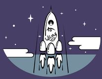 Space Rocket and Space Travel. Startup of space rocket. Flat design of illustration, concept of business product for market Stock Images