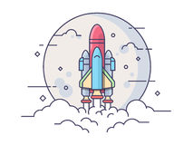 Startup space rocket. Space rocket. Technology spaceship, science and shuttle, startup business. Line vector illustration royalty free illustration