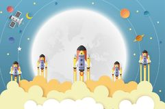 Startup space shuttle on moon and Solar system. Paper art stock illustration