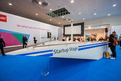 Startup Stage lecture hall of German Startup Association. HANNOVER, GERMANY - MARCH 14, 2016: Startup Stage lecture hall of German Startup Association at CeBIT Stock Photo