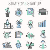 Startup and strategy outline web busines icon set for websites ui management finance start up vector illustration. Startup and strategy outline web busines Stock Photography