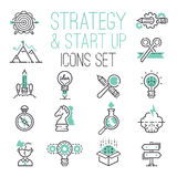 Startup strategy outline web business icon set websites ui finance start up vector symbols. Marketing concept analysis process strategy Royalty Free Illustration