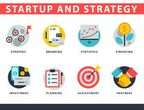 Startup and strategy web busines icon set for websites ui management finance start up vector illustration. Startup and strategy web busines sblack and purple Royalty Free Stock Photo