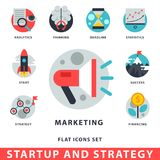 Startup and strategy web busines icon set for websites ui management finance start up vector illustration. Startup and strategy web busines sblack and purple Stock Photography