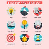 Startup and strategy web busines icon set for websites ui management finance start up vector illustration. Startup and strategy web busines sblack and purple Stock Photo