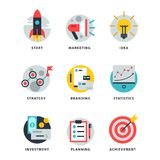 Startup and strategy web busines icon set for websites ui management finance start up vector illustration. Startup and strategy web busines sblack and purple Royalty Free Stock Photography