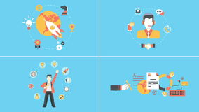 Startup, support, success, management animated concepts stock footage