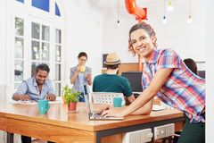 Startup team in coworking office. In laptop computer workshop Royalty Free Stock Image