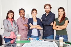 Startup team standing with self confidence. In business office Royalty Free Stock Photos