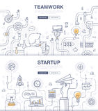 Startup and Teamwork Doodle Concepts. Doodle design style concept of building new business, SEO, teamwork and management, company processes. Modern concepts for royalty free illustration