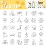 Startup thin line icon set, development symbols. Collection, vector sketches, logo illustrations, business finance signs linear pictograms package isolated on Royalty Free Stock Image