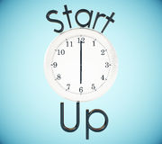 Startup and time management concept. White clock and start up text on blue background. 3D Rendering. Startup and time management concept Royalty Free Stock Photos