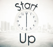 Startup and time management concept. White clock and start up text on city background. 3D Rendering. Startup and time management concept Stock Images