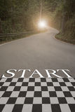 Startup to success business printed on road leading towards. Future concept Royalty Free Stock Images