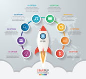 Startup vector circle infographics with rocket launch Stock Photography