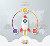 Startup vector circle infographics with rocket launch Royalty Free Stock Photos