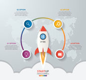 Startup vector circle infographics with rocket launch Royalty Free Stock Photo