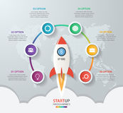 Startup vector circle infographics with rocket launch Royalty Free Stock Images