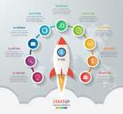 Startup vector circle infographics with rocket launch Stock Photos