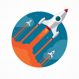 Startup vector concept with flying pencil rockets Royalty Free Stock Images