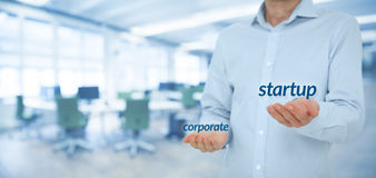 Startup versus corporate Royalty Free Stock Image